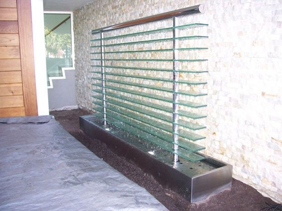 Stainless steel and glass water feature